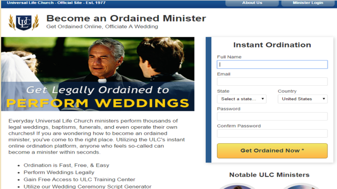 how to become ordained online
