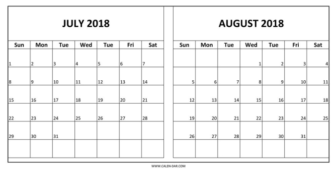 July August 2018 Calendar Printable | Larissanaestrada throughout July And August Calendar 2018 Printable