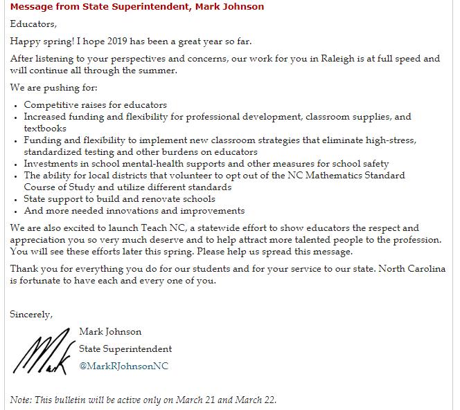 Johnson message